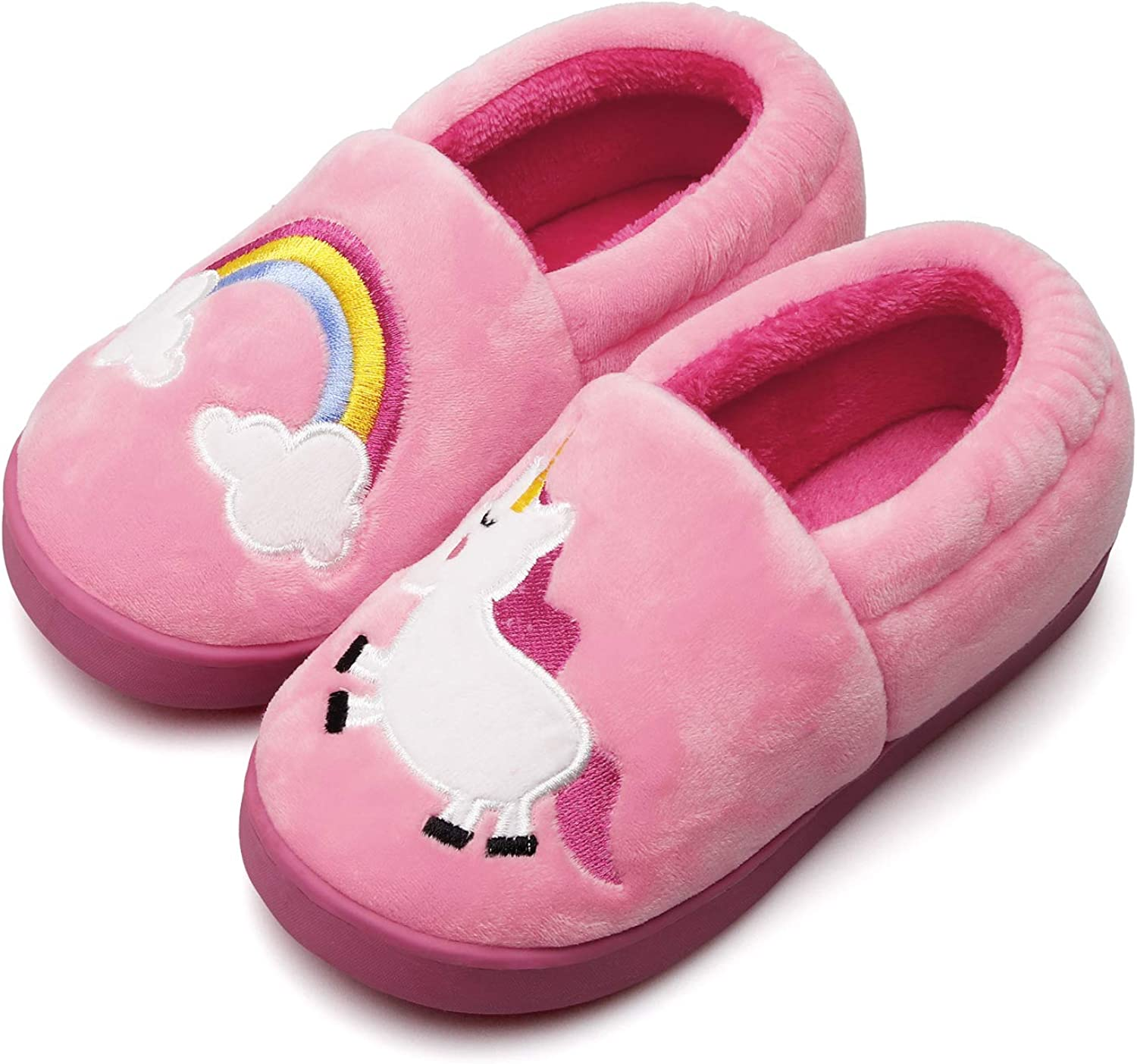 Plush Warm Slippers for Girls Boys Kids Toddlers Winter Fur Lined Indoor House Home Shoes