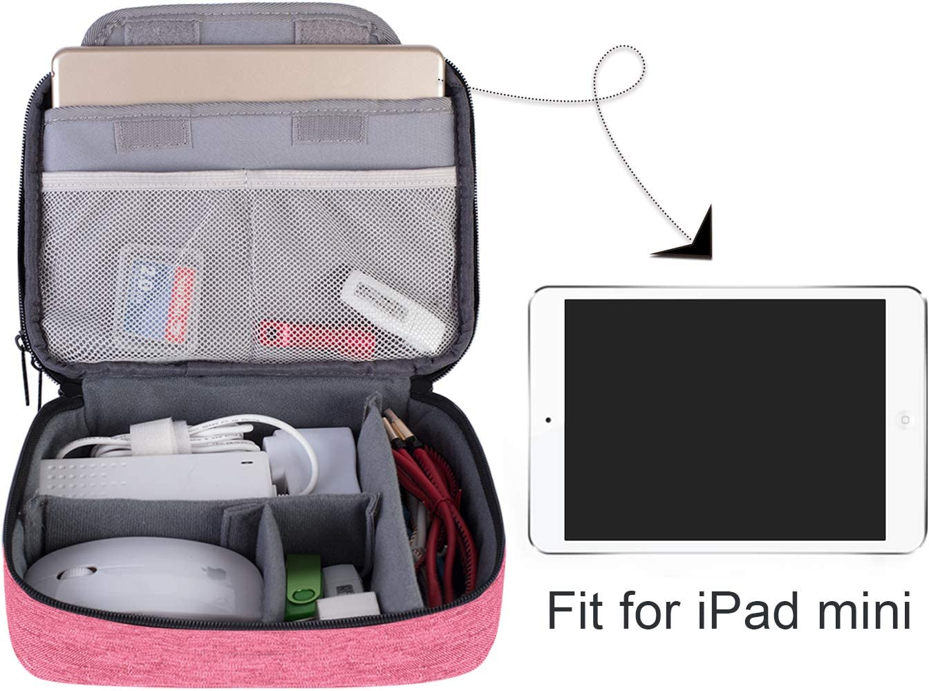 Medium,Denim Pink Power Bank and More-a Sleeve Pouch for 7.9 iPad Mini USB Flash Drive Double Layer Travel Gadget Storage Bag for Cables BUBM Electronic Organizer Cord