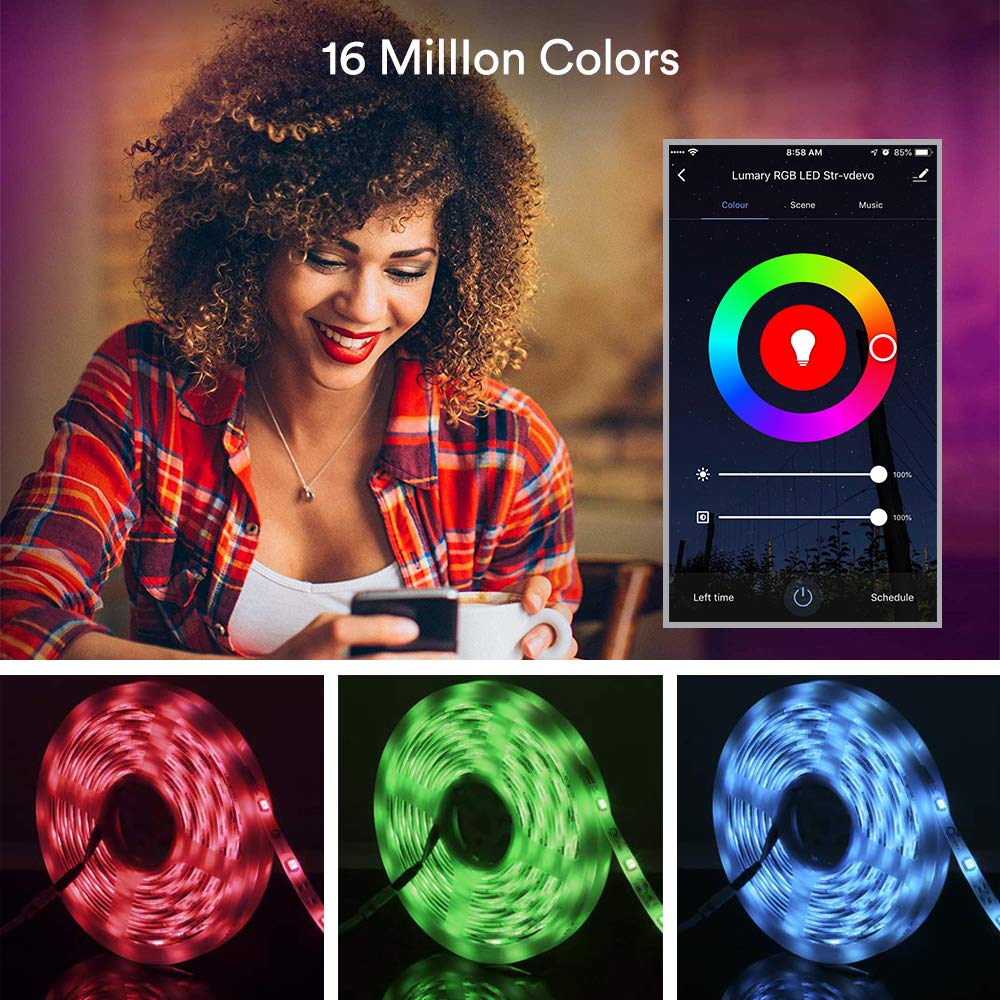 Lumary Smart WiFi LED Strip Lights 16.4FT IP44 Waterproof RGB 5050 LED Light Kit Works with Alexa Google Home IFTTT App-Controlled Music Sync 16 Million Colors No hub Required (RGB 16.4ft)