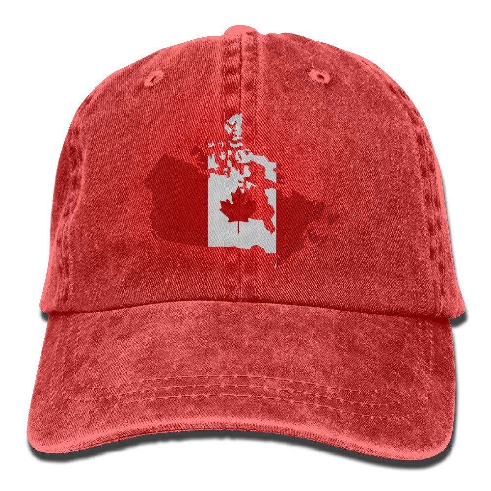 Men Women Canadian Map With Canada Flag Adjustable Jeans Baseball Cap Sun Hat