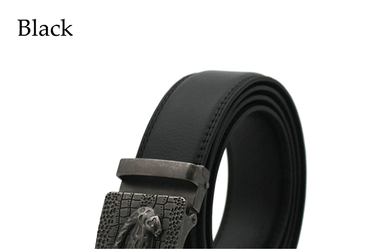 Amazon.com  Miki Da Luxury Business Casual Belt Man Black Brown Genuine  Leather Belts For Jeans Automatic Buckle Strap Belt Cintos black 120cm   Clothing 0652ea77ebf