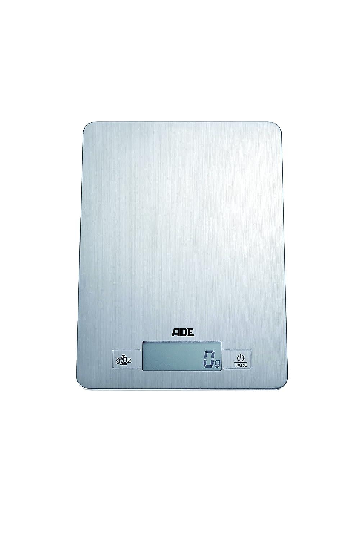 ADE Báscula de cocina digital KE874 Denise. Electrónica y ultradelgada. Superficie de pesado en acero inoxidable. Pese con precisión hasta 5Kg. Tara.