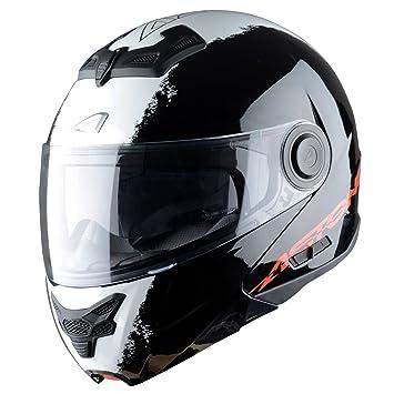 Astone Helmets, Casco modular, color Negro (Stripes Noir), talla S
