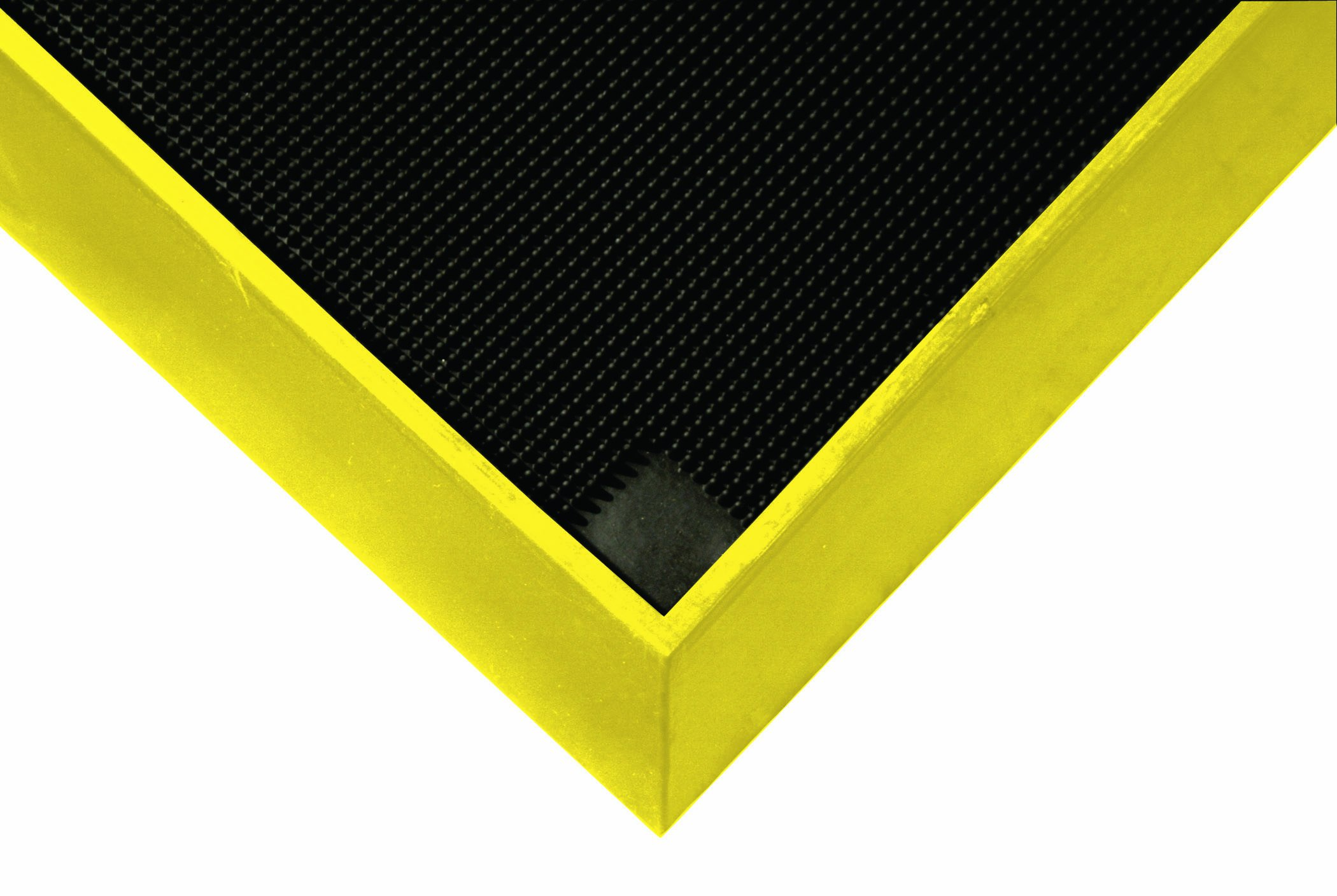 Wearwell Natural Rubber 222 Anti-Fatigue Sanitizing Footbath Mat, for Food Processing Facilities, 32'' Width x 39'' Length x 2-1/2'' Thickness, Black / Yellow