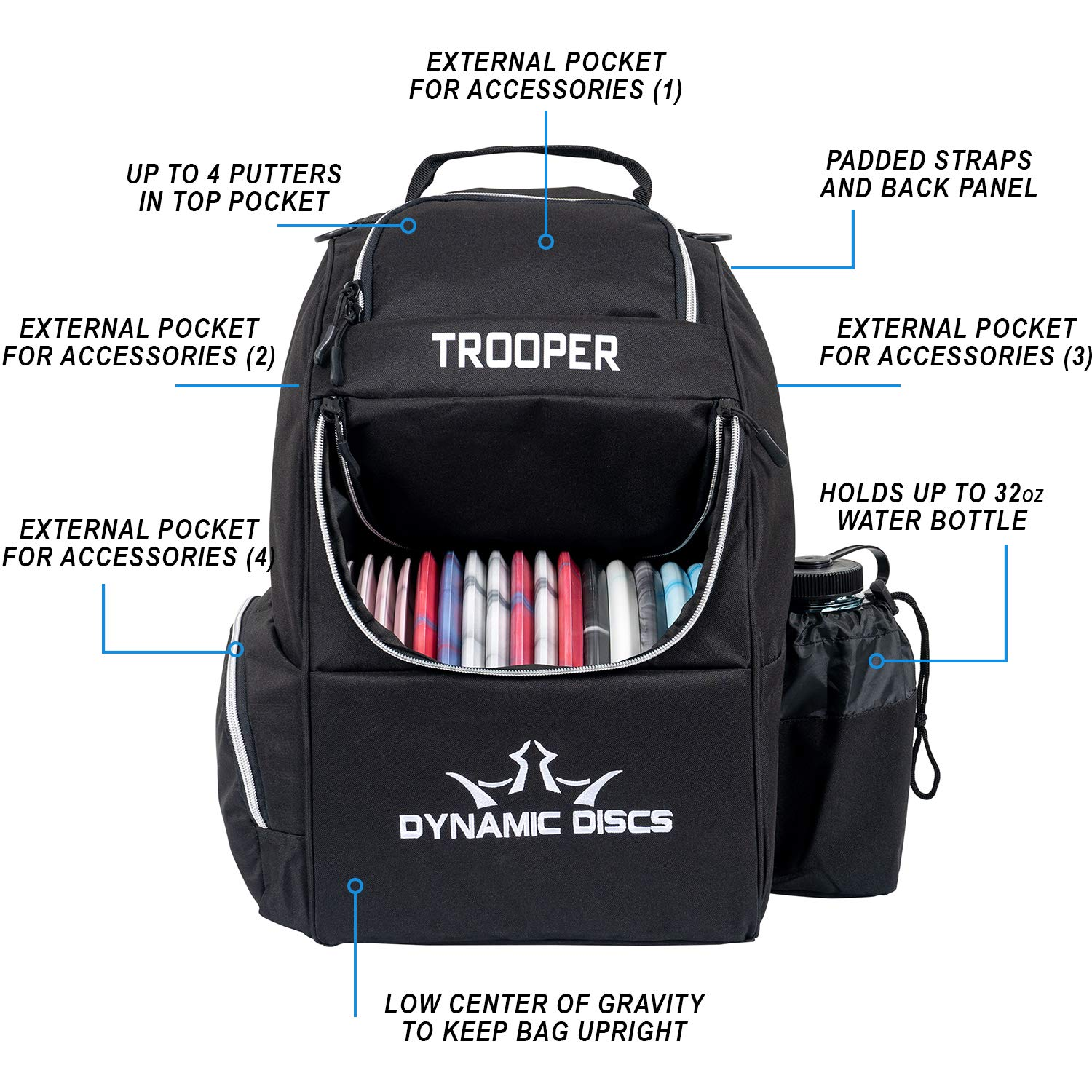 Dynamic Discs Trooper Disc Golf Backpack | Black | Frisbee Disc Golf Bag with 18+ Disc Capacity | Introductory Disc Golf Backpack | Lightweight and Durable by D·D DYNAMIC DISCS