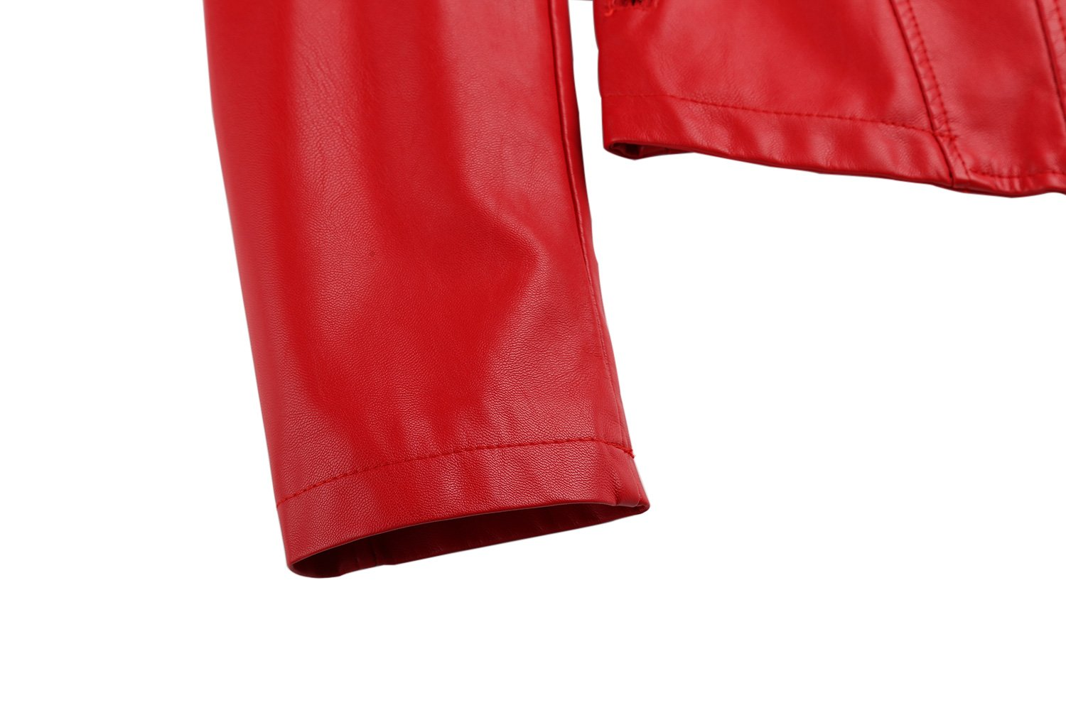 Tanming Women's Slim Zipper Color Faux Leather Jacket Red (Large, Red) by Tanming (Image #5)