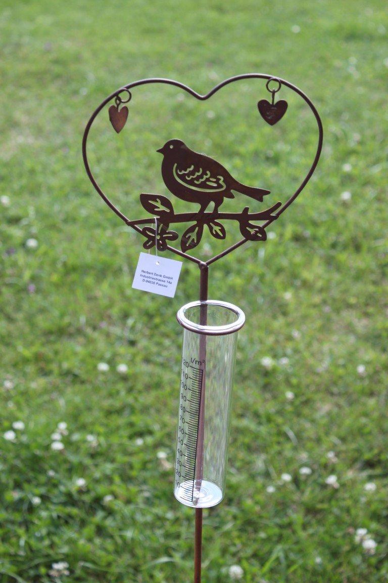 Unbekannt Regenmesser mit Vogel, aus Metall, Braun (Rostoptik), H 108 cm