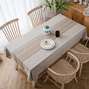 TEWENE Tablecloth, Rectangle Table Cloth Cotton Linen Wrinkle Free Anti-Fading Tablecloths Embroidery Tassel Table Cover for Dining Kitchen (Rectangle/Oblong, 55''x102'',8-10 Seats, Light Coffee)