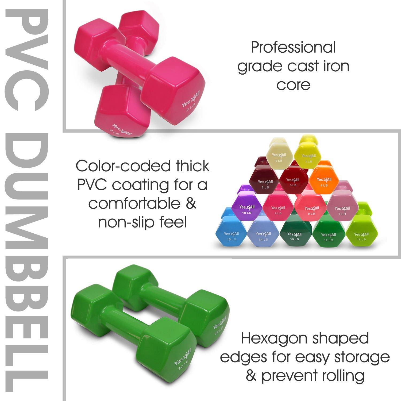 Yes4All PVC mancuernas (vendido en pares) - Q7MH, 5 lb, Rojo: Amazon.es: Deportes y aire libre