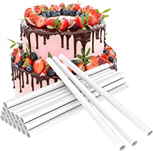 Plastic White Cake Dowel Rods Tiered Cake Round Dowels Straws Cake Stand Sticks for Tiered Cake Cookie Construction Stacking Supporting, 12 Inch Length
