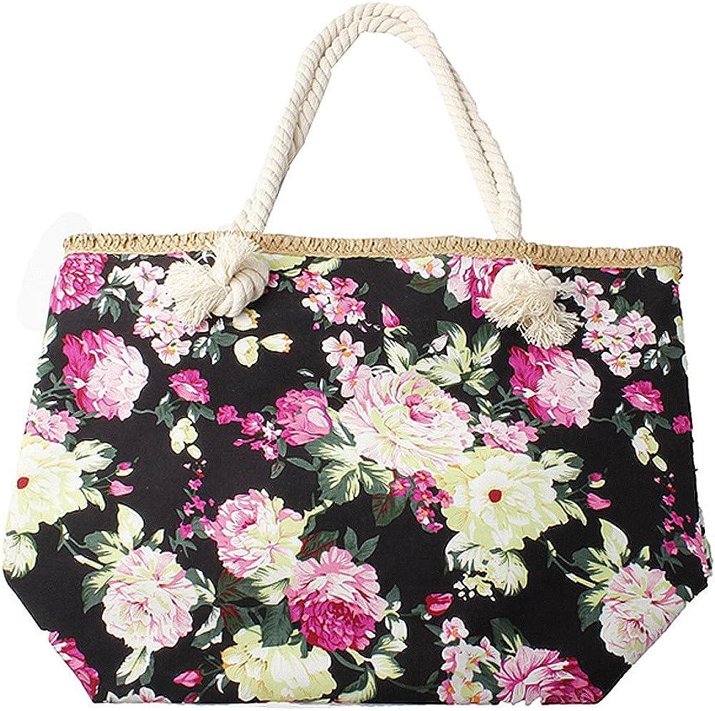 Accessoryo La rose des femmes a augment/é de concevoir sac de plage noire avec des lani/ères de corde