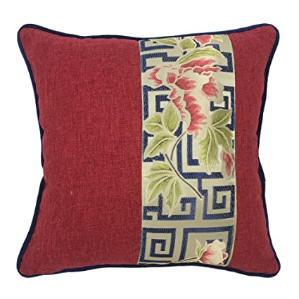 Dark Red Throw Pillows.Ussuperstar Dark Red Pillows Jacquard Print Satin Throw Pillow With Insert Luxury Series Cushion Cover Office Living Room Throw Pillow Case 18 X 18