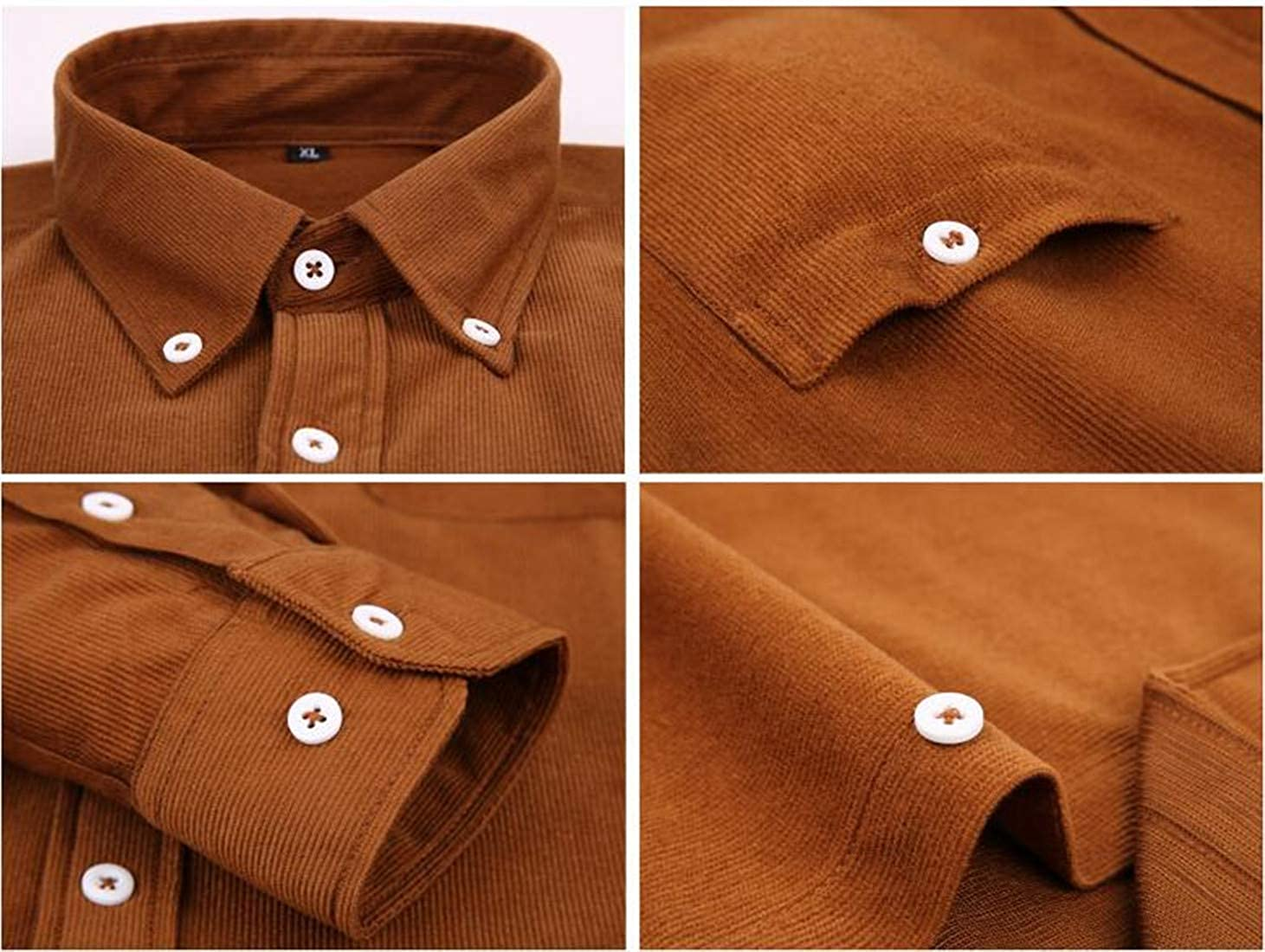 Sweatwater Men Casual Long Sleeve Button Down Pure Color Corduroy Shirts