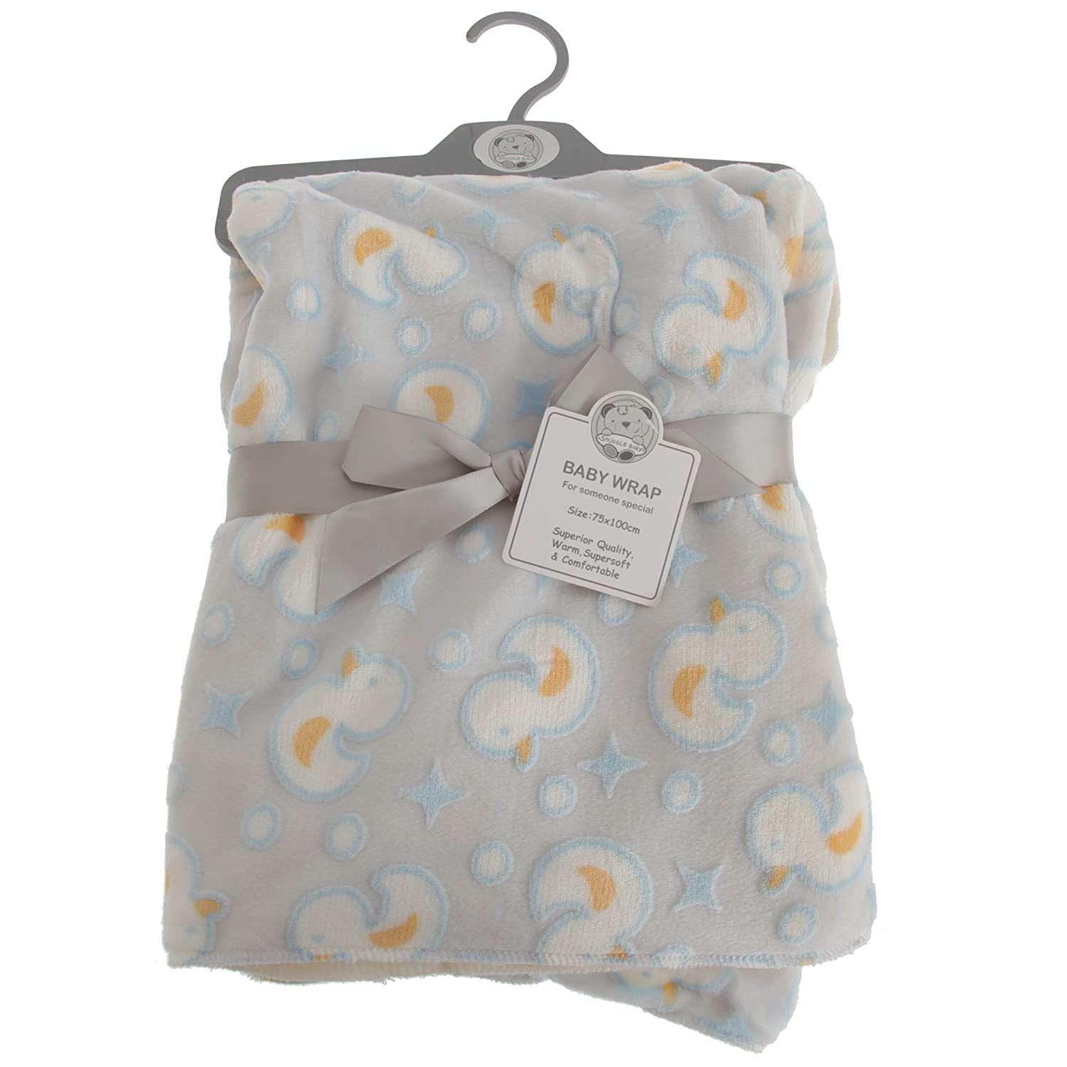 Snuggle Baby Baby Boys//Girls Duck Design Wrap Gray//Blue//Yellow 29.5in x 39in