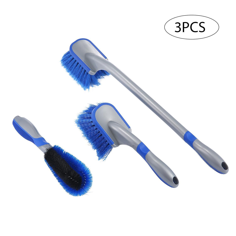 FOONEE Kit de Cepillo para Rueda de Coche, Cepillo Limpiador de Llantas, Cepillo para neumá ticos, Coches, Motos, Llantas de Limpieza (3 Unidades) Cepillo para neumáticos