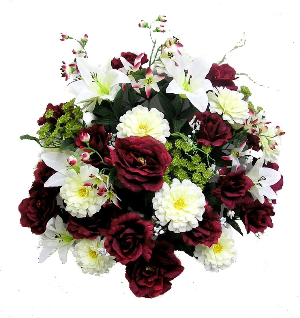 Admired By Nature 40 Stems Artificial Rose, Lily, Zinnia, Queen Anne's Lace Mixed Flowers Bush with Greenery for Memorial Day or Home, Wedding, Restaurant & office Decor Arrangement, Burgundy/Cream