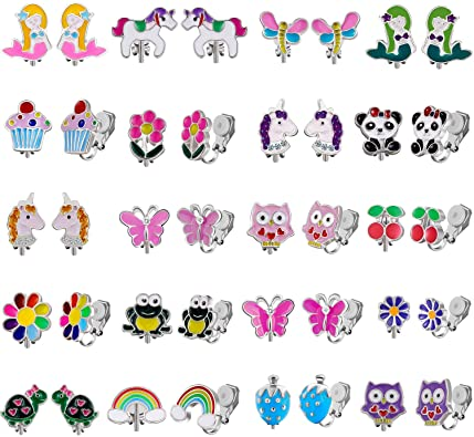 20 Pairs Kids Clip on Earrings for Girls - Cute Animal Clipon Earrings Pack for Little Girls - Colorful Flower Clip-on Earrings Set for Teens Girls