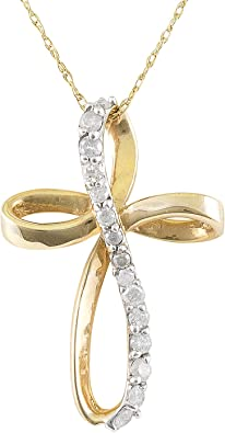 10K Two-Tone Gold Twisted Cross w//Heart Charm Pendant