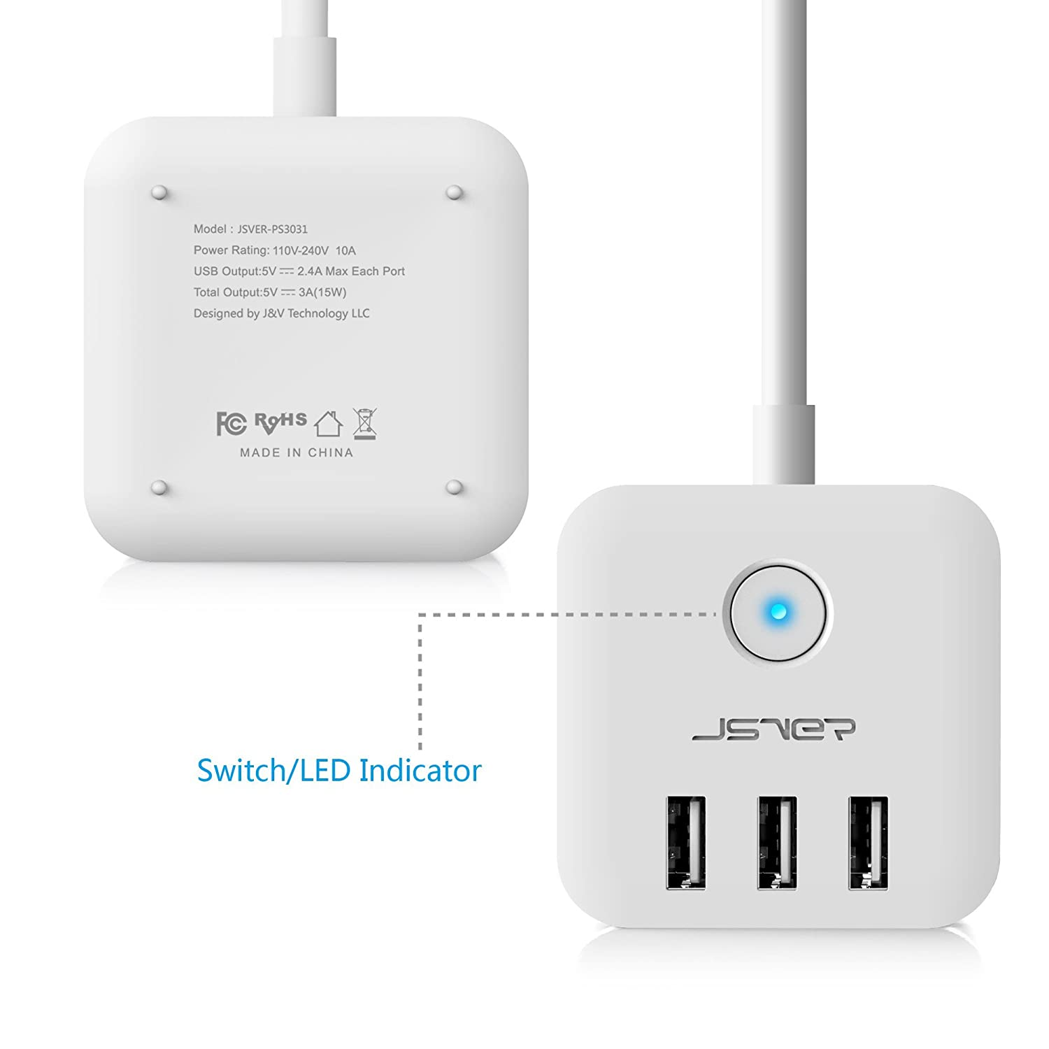 0db5cf0f379 Amazon.com  JSVER 3 Outlet Compact Cube Power Strip with 3 Smart USB  Charging Ports and a 4.92Ft Cable