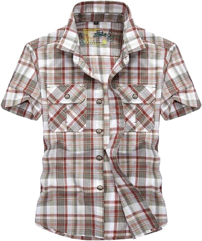 YONGM Mens Lapel Short Sleeve Tartan Chest Pocket Button Down Dress Shirt