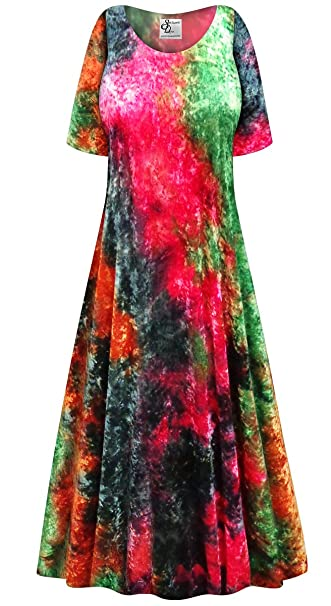 51244525fc4 Crush Velvet Tie Dye Plus Size Short Sleeve A-Line Maxi Dress 1xT at ...