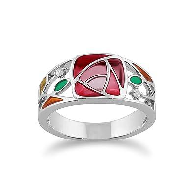 Gemondo 925 Sterling Silver 0.03ct Colourless Topaz Rennie Mackintosh Ring ds4qI7
