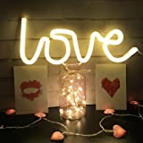 QiaoFei Neon Love Signs Light LED Love Art Decorative Marquee Sign - Wall Decor/Table Decor for Wedding Party Kids Room Livin