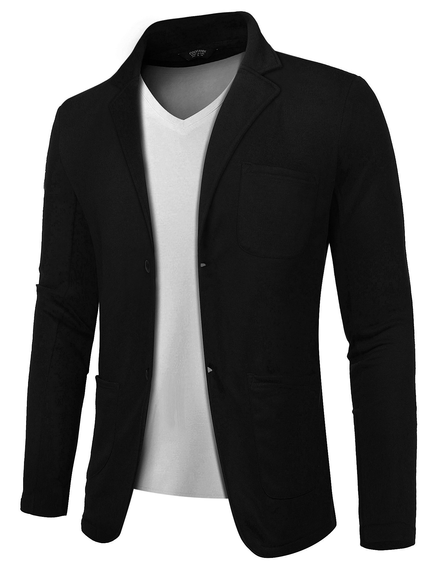 COOFANDY Mens Casual Two Button Suits Lapel Blazer Jacket Lightweight Sport Coat,Black,Medium