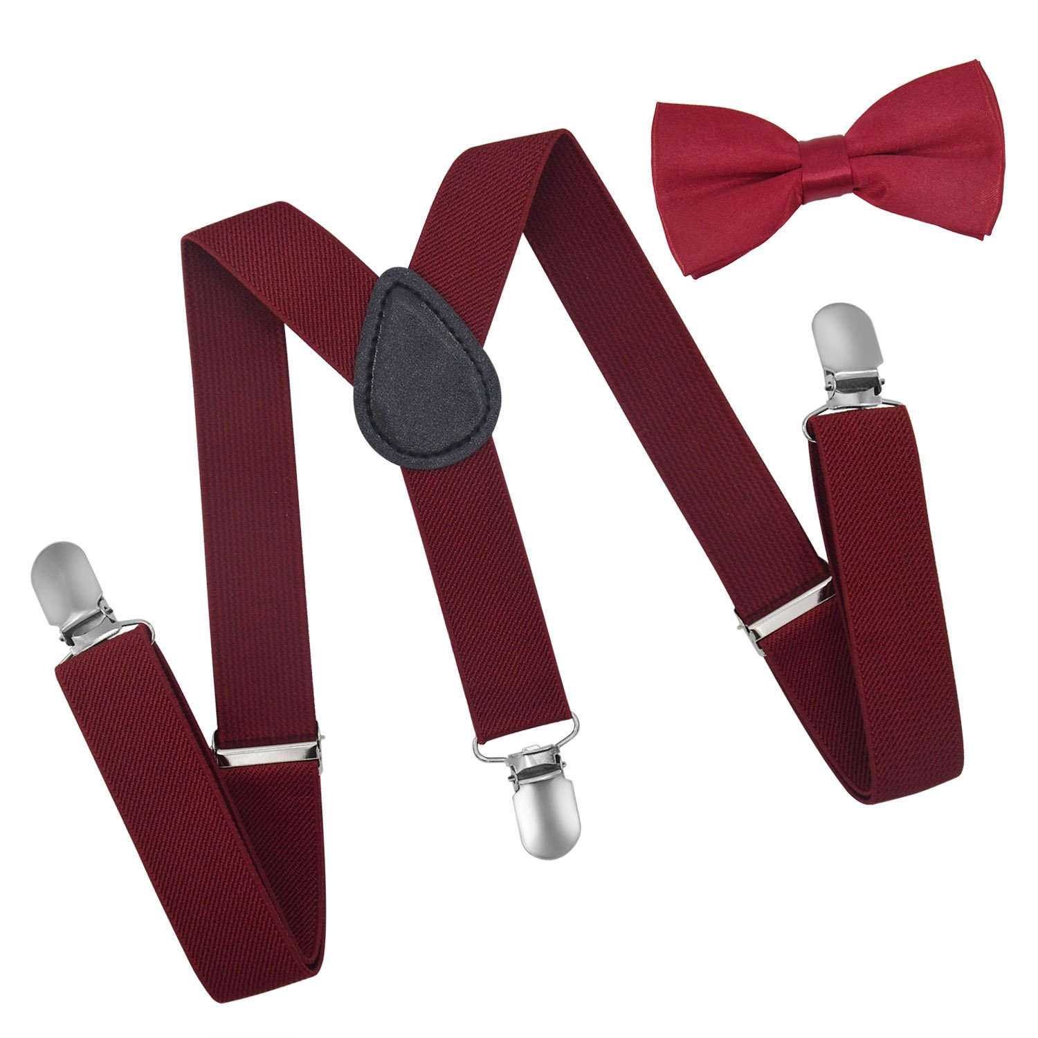 Brooben Child Kids Suspenders Bowtie Set - Adjustable Length Suspender with Bow Tie Set for Boys and Girls SPBT1-RoseRed