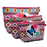 Panlom® Set of 3 Makeup Bags Brush Pouch Toiletry Wash Bag Portable Travel Make Up Case Pouch For Women Girls