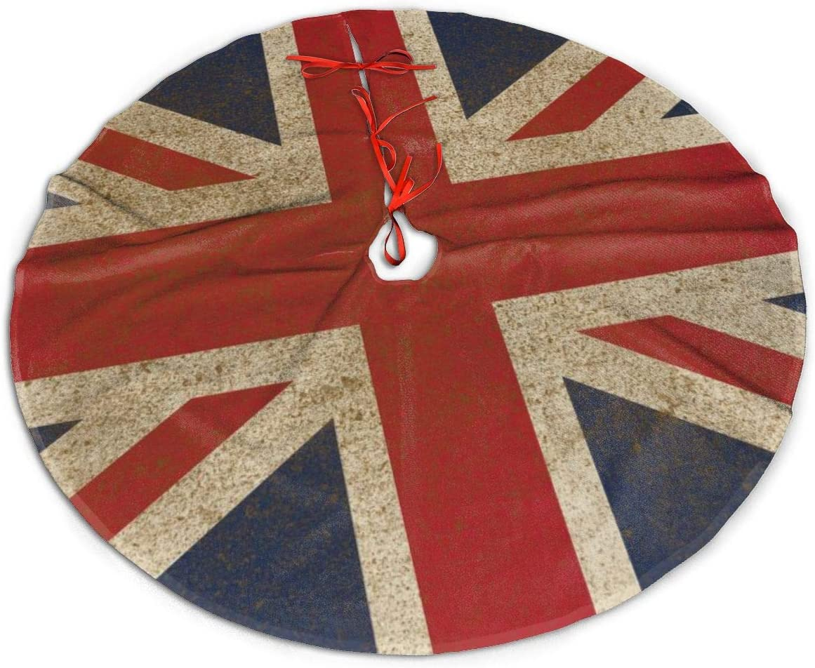 N/W Christmas Tree Skirt, 48 Inch, British Flag Tree Skirts for Holiday Party Christmas Decorations Tree Mat Indoor Outdoor