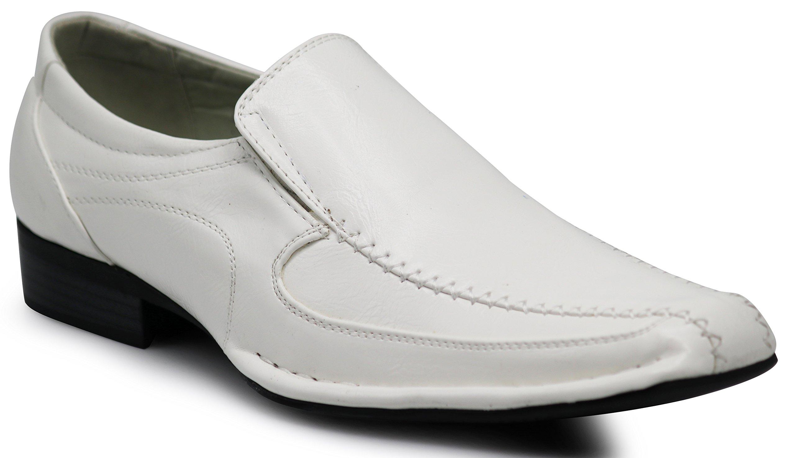 Enzo Romeo ND2 Men's Dress Bike Toe Loafers Elastic Slip on with Plain Fashion Shoes (10.5 D(M) US, White)