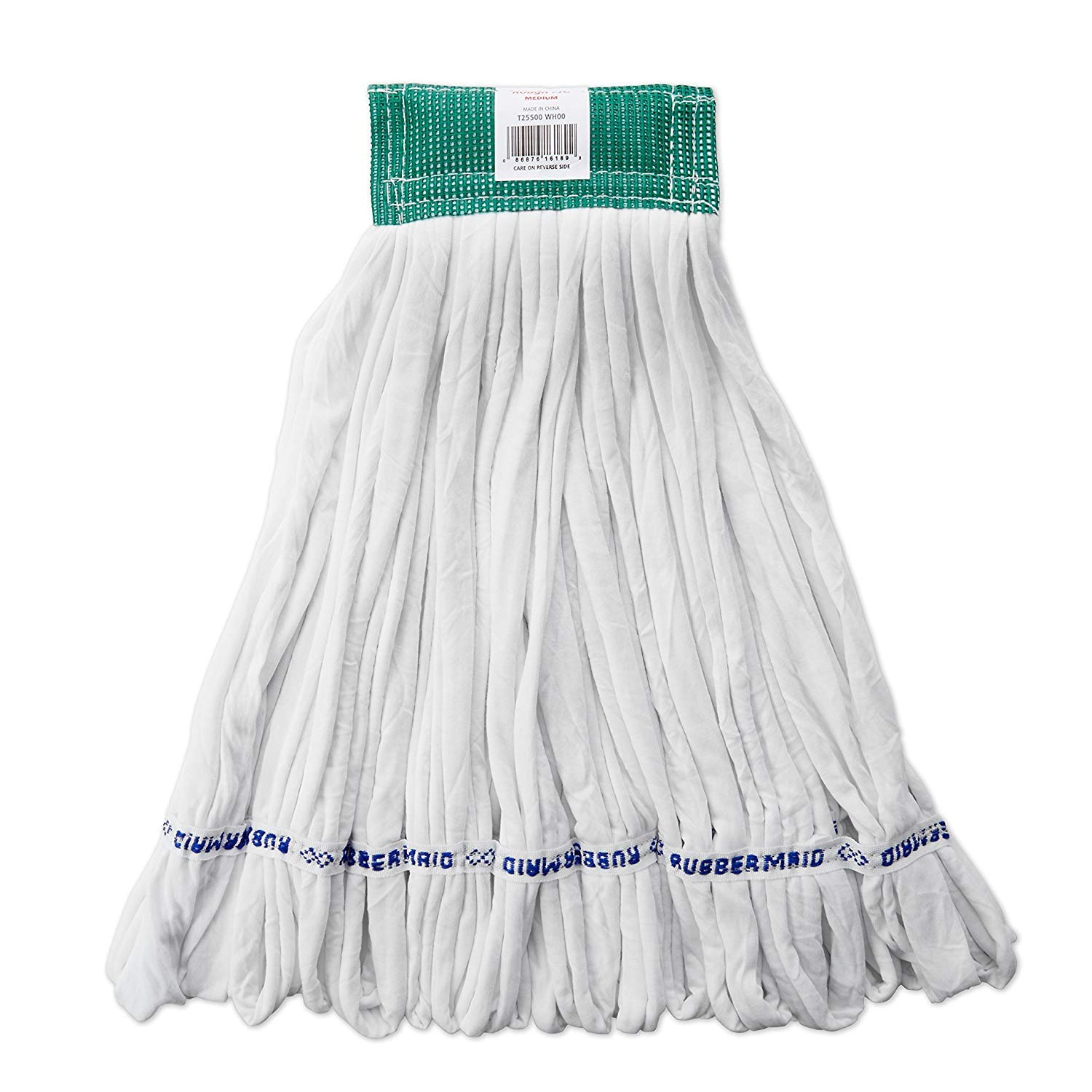 Rubbermaid Commercial Products FGT25500WH00 Rough Floor Wet Mop, Large, 5'' Green Headband, White (Pack of 12)