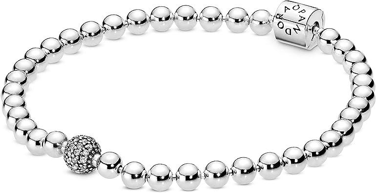 Amazon.com: Pandora Jewelry Beads and Pave Cubic Zirconia Bracelet ...
