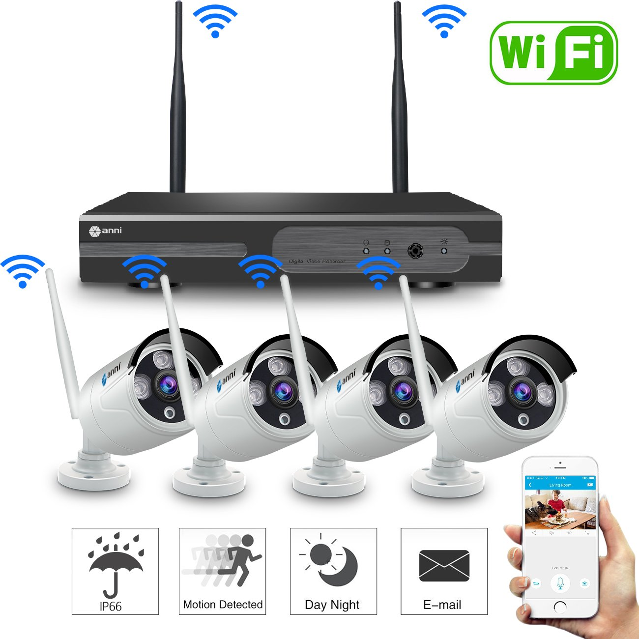 Anni 720P 8CH HD Wireless Security Camera System WiFi NVR Kit CCTV Surveillance Systems,(4) 1.0MP Outdoor/Indoor Weatherproof Wireless Bullet IP Cameras,65ft Night Vision, P2P,Motion Detection,NO HDD by anni