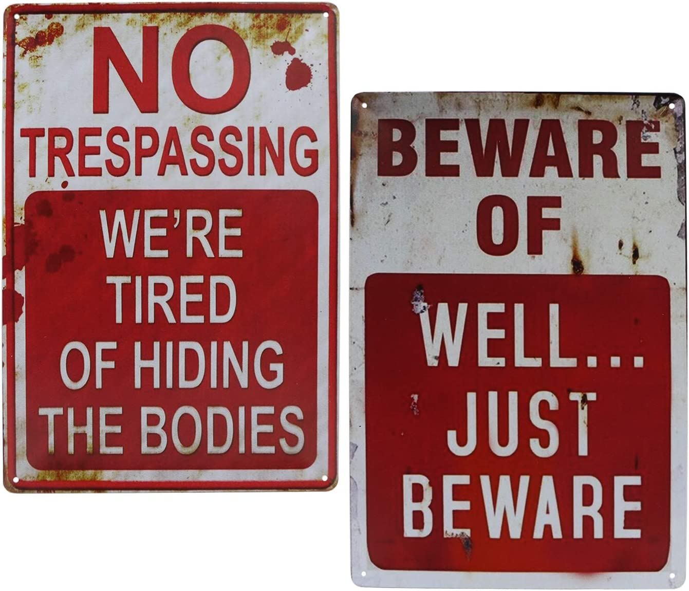 No Trespassing 2 PCS Halloween Signs Funny Metal Tin Sign for Halloween Decor