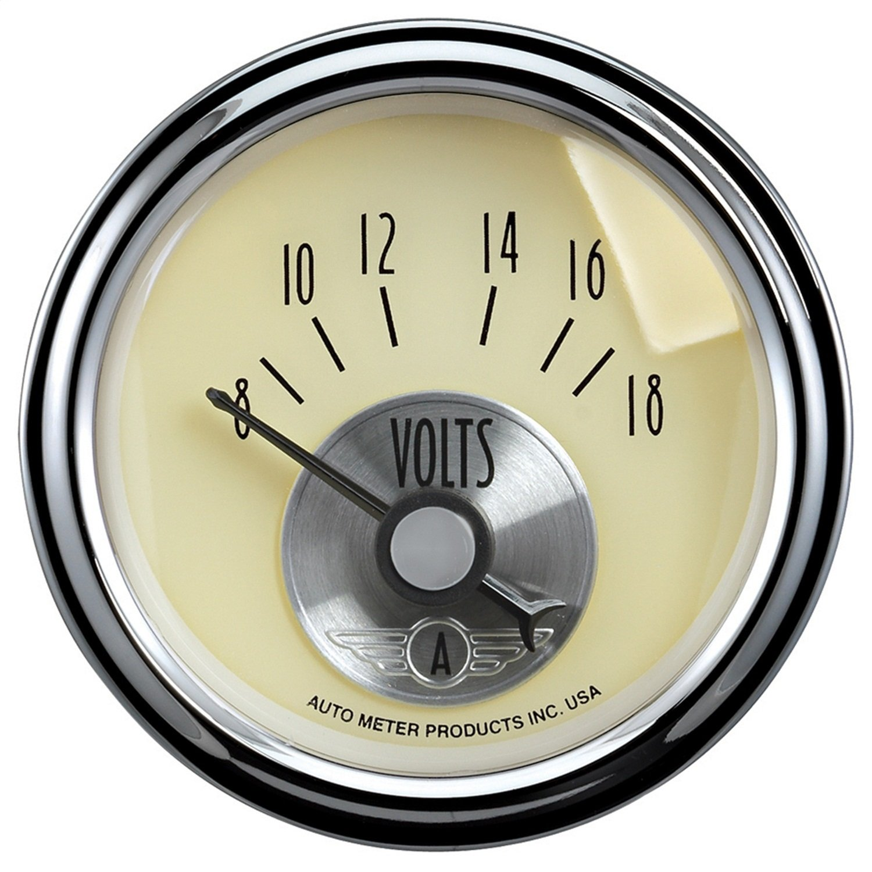 Auto Meter 2092 Prestige Antique Ivory 2-1//16 8-18 Volts Voltmeter Gauge