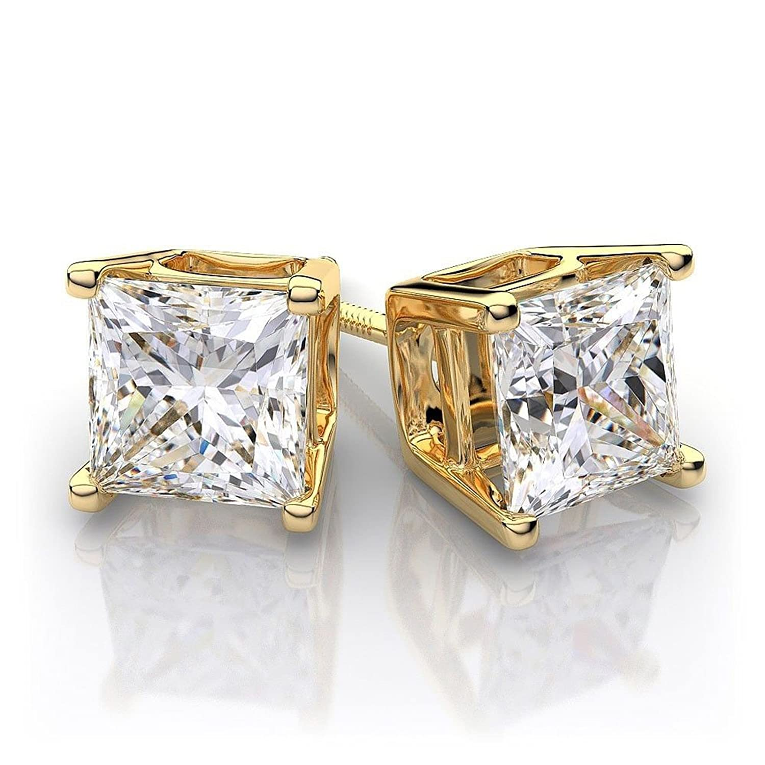 1.10 CT Princess Brilliant Cut CZ Solitaire Stud Earrings in 14k Yellow Gold Screw Back