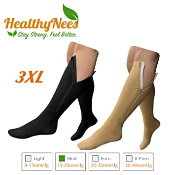 01e653f9f01a HealthyNees 15-20 mmHg Zipper Compression Extra Wide Plus Size Very Big  Large Calf Knee