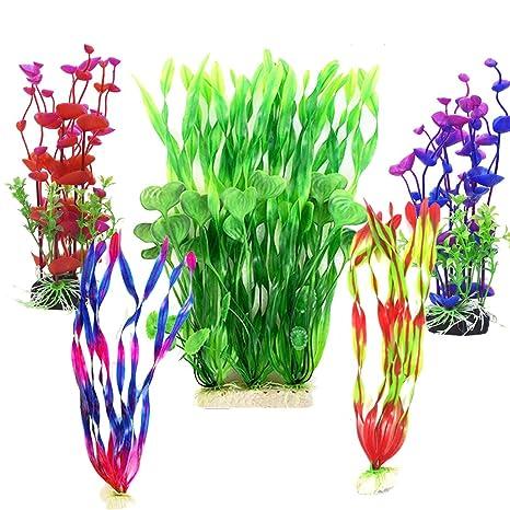 Plantas artificiales de plástico para acuario, gran altura, plástico, para decoración de plantas