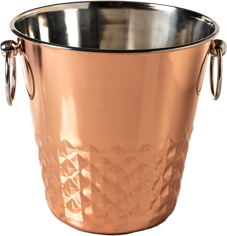 Champagne Bucket Wine Cooler Wine Holder Wine Chiller Beverage Cooler Beer Chiller Ice Bucket in Stainless Steel Copper Finish Tarnish Resistant Elegant Modern Design for Barware, Wine Lovers
