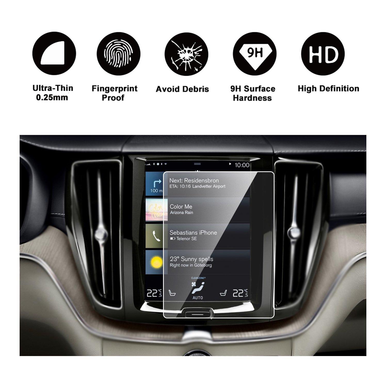 RUIYA HD Clear TEMPERED GLASS Car In-Dash Screen Protective Film 4332955555 2018 Volvo XC60 Sensus Navigation System Car Navigation Screen Protector