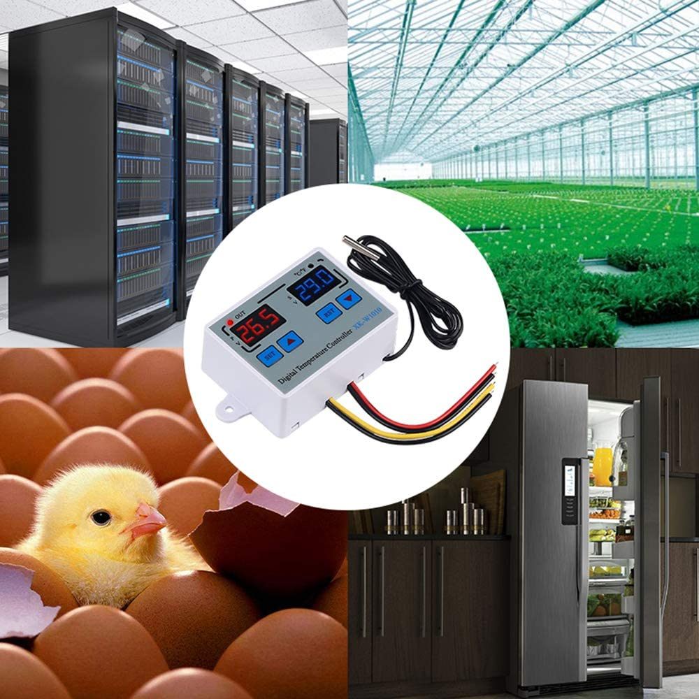 Interrupteur de Thermostat KKmoon Thermostat Num/érique C//F Contr/ôleur de Temp/érature pour Incubateur Relais LED 10A Radiateur de Refroidissement Sortie Directe XK-W1010 AC110-220V