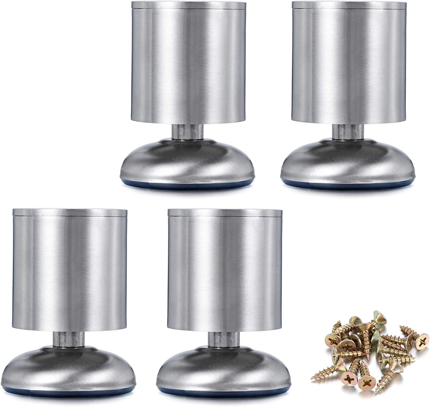 CozyCabin 4PCS Adjustable Metal Furniture Legs - Stainless Steel Cabinet Legs Round for Cabinet Sofa Table Kitchen Feet Replacement,(Height 80mm/3
