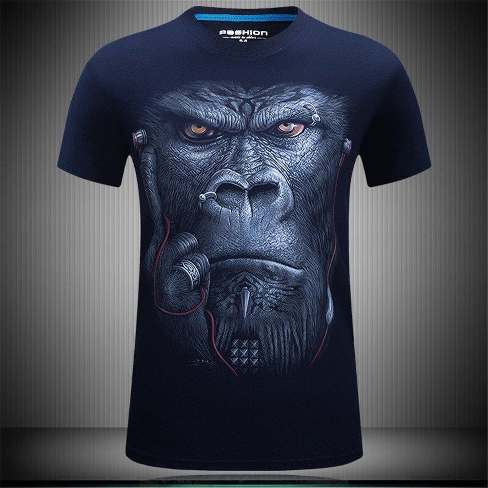 WHLTX Créatif Et Élégant T-Shirt Youth Stamp 3D À Manches Courtes Hommes
