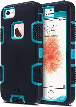 ULAK Coque iPhone 5S, iPhone Se Coque Housse Étui Hybride 3 en 1 Silicone et PC Rigide Antichocs Dur Protection Coque pour Apple iPhone 5/5S/SE ...