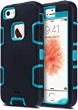 ULAK iPhone 5S Case, iPhone SE Case 3in1 Shockproof Combo Hybrid Hard Rigid PC + Soft Silicone Protective Case Cover for Apple iPhone SE/5S/5 (Black + Blue)
