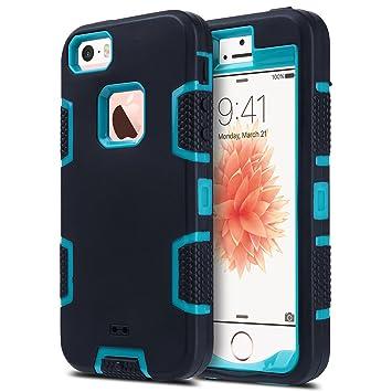 ULAK iPhone 5 iPhone 5S iPhone SE Carcasa Funda Case 3en1 [amortiguadora] de Goma de Silicona Combo hñbrida para el iPhone 5S iPhone 5 iPhone SE ...