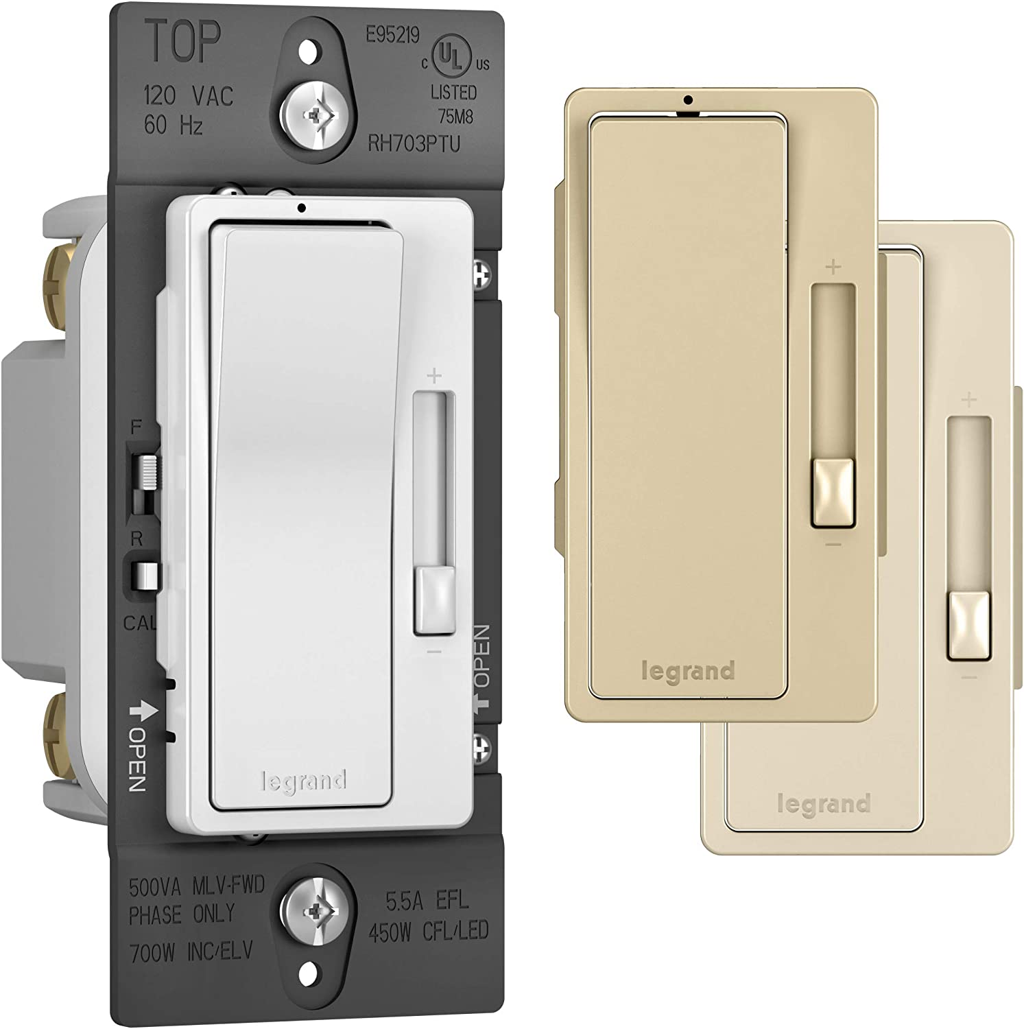 Legrand radiant Dimmer Light Switch, Tru Universal Auto Calibration Switch, Works for All Light Loads, 450W LED and CFL Bulbs - 700W Incandescent, ELV & Halogen, Tri Color, RH703PTUTCCCV4
