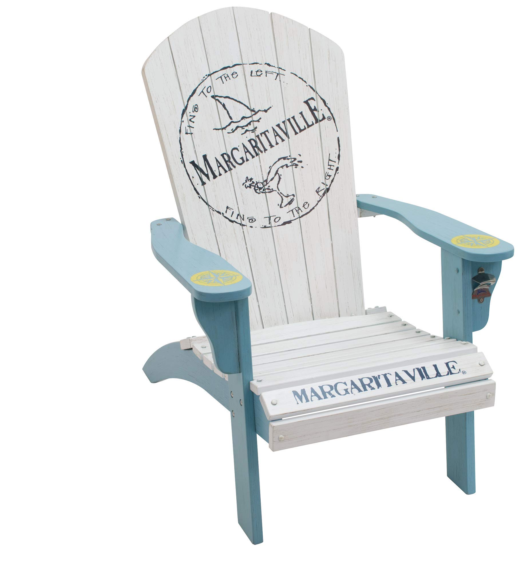 Margaritaville Outdoor Wood Adirondack Outdoor Deep Seat Chair, Fins to The Left